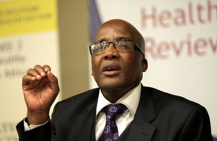 JOHANNESBURG, SOUTH AFRICA - FEBRUARY 23:  Health Minister Aaron Motsoaledi at the release of the 2010/11 report on South Africa's health system in Johannesburg, South Africa on February 23, 2012. (Photo by Gallo Images / The Times / Peggy Nkomo)